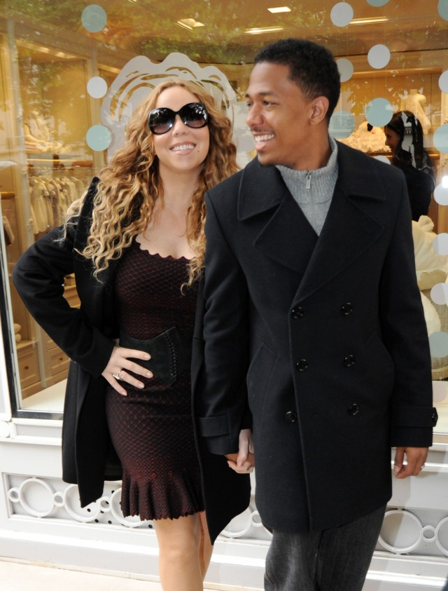 Singer Mariah Carey and husband Nick Cannon shop in luxury boutiques Baby-Dior on Montaigne avenue and the Vuitton store on the Champs Elysees in Paris